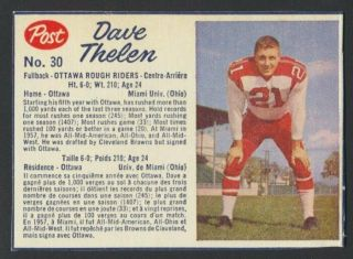 Vintage 1962 Post Cfl Football Card 30 Dave Thelen Rare Not In Guide Ex/mt - Nm
