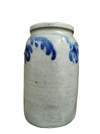 Baltimore One Gallon Blue Cobalt Floral Decorated Stoneware Jar.