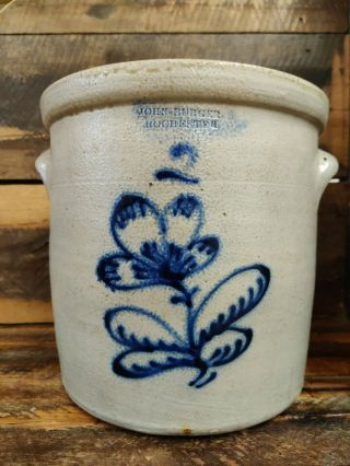 John Burger Rochester 2 Gallon Blue Cobalt Floral Decorated Stoneware Crock.