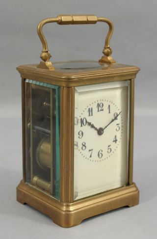 Large 19thc Antique French Gold Gilt Bronze Carriage Clock.