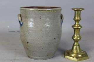 Very Rare 19th C Miniature Blue Decorated Stoneware Ovoid Crock Great Early Form