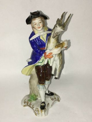 Meissen Hand Painted Porcelain Figurine Of A Man With Goat