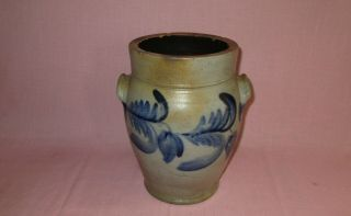 """Antique 19th C Stoneware Flower Decorated Small Ovoid Pennsylvania Crock 10 7/8 """""""