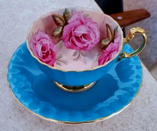 Fine Aynsley Turquoise Oban Footed Cup & Saucer W Large Pink Cabbage Roses C1031