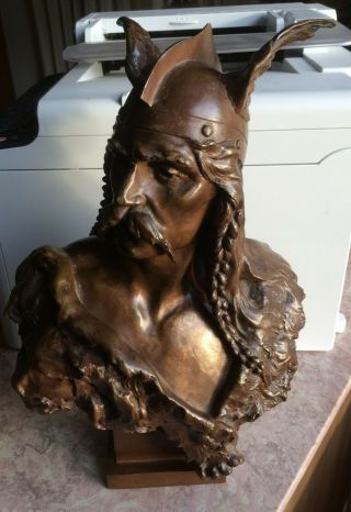 Emile Laporte Late 19th/ Early 20th C French Bronze - Bust Of VercingÉtorix.