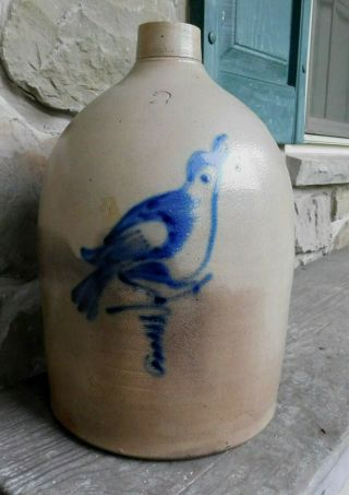 2 Gallon Blue Decorated Stoneware Bird Jug Fulper N.  J.  Or York