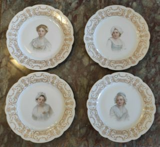 "4 Antique Sevres Porcelain Hand Painted Plate Signed 10 ""."