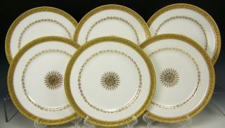 """Rare 6 Limoges Haviland Raphael Weill & Co Handpainted Holly Berry 8.  5 """" Plates"""