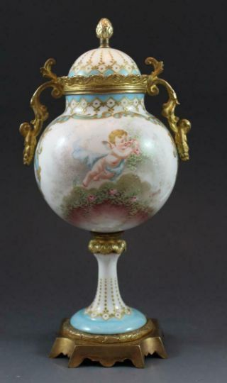 C1890 French Sevres Porcelain Covered Urn Gilt Bronze Mounted W/ Cherubic Figure