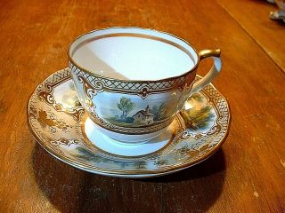 Early 19thc Museum Quality Hand Painted Gilded Scenic Cup & Saucer