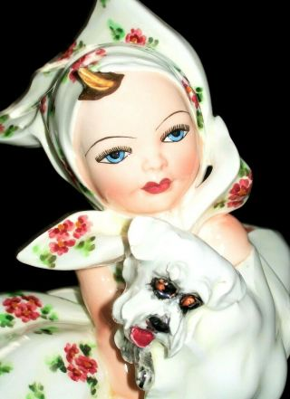 Antique Italy Art Deco Carlo Mollica Girl Doll With Terrier Porcelain Figurine