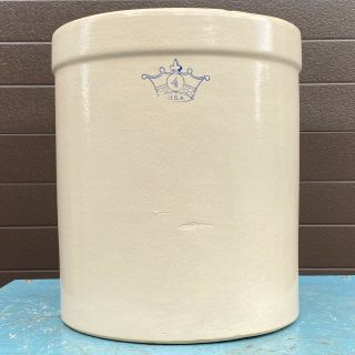 Vintage Robinson Ransbottom 4 Gallon Crock Blue Crown 4 Stoneware Usa