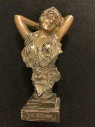 La Gitana The Gypsy - Late 19th Early 20th Cent.  Spelter Metal Bust Statue