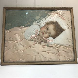 Vintage Victorian Mourning Photo Baby W / Real Hair Lace Satin Blanket W Bows