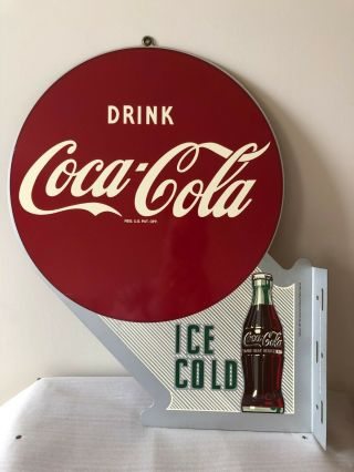 Vintage,  Coca - Cola Double - Sided Flange Sign,  Limited Run Reissue,  Ex,  \nm