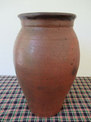 "Antique Crock,  Redware,  Tall One Gallon,  Primitive,  10 - 3/4 "" X 5 - 1/2"