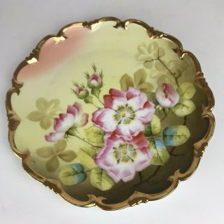 "Antique Signed Hand Painted Vienna Austria Porcelain Plate 8.  5 "" - Pink Roses"