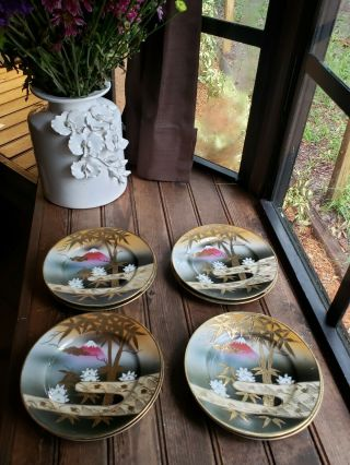 "Vtg Shofu China Mt.  Fuji 7 "" Salad Bread Plates Hand Painted Porcelain Set Of 4"