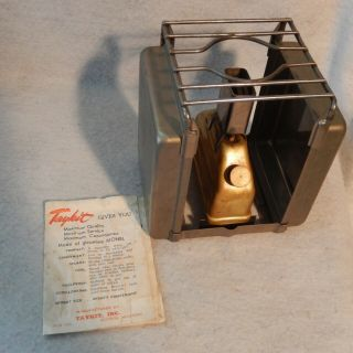 Vintage Taykit Pocket Stove Camping Gasoline Monel Usa Hiking Manuel Tay Kit