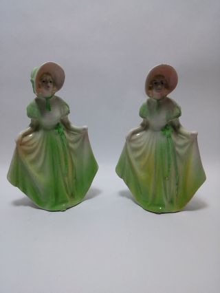 Twin Sisters Lady Figurines In Green Dresses Ceramic Porcelain Vintage 1950s