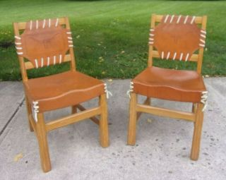 (2) A Brandt Ranch Oak & Leather Texas Longhorn Side Chairs (rare) Made In Texas
