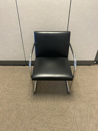 Knoll Mies Van Der Rohe Black Leather And Chrome Brno Chair