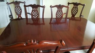 Six Mahogany Chairs With Dining Room Table Made By Hickory Chair