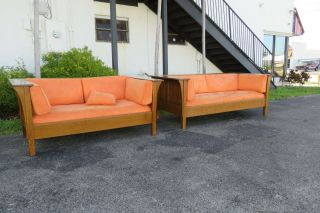 Stickley Mission Style Tiger Oak Set Of Long Sofa And Settee Love Seat 1476x