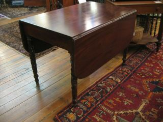 American Chippendale Empire Solid Mahogany Drop Leaf Table Hand Carved Legs