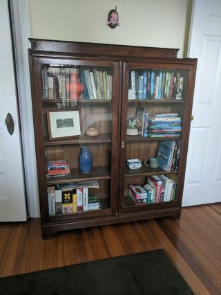 Antique Mahogany Glass Front/double Glass Door Bookcase