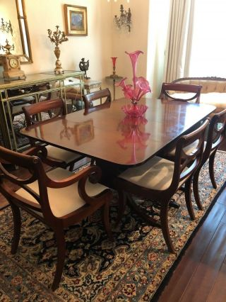 Duncan Phyfe Mahogany Dining Room Table & 6 Chairs & 3 Inserts