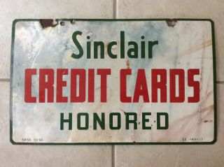 Vintage Sinclair 1955 Credit Cards Honored Double Sided Porcelain Sign