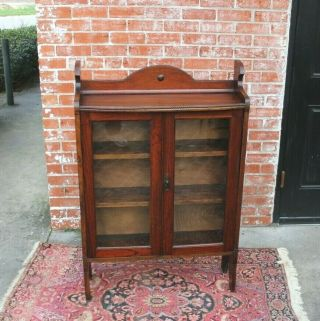 2/3 Payment English Oak Arts & Crafts Glass Door Bookcase / Display Cabinet