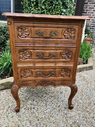 Antique French Oak Louis Xv Style Serpentine 3 - Drawer Chest Nightstand Petite