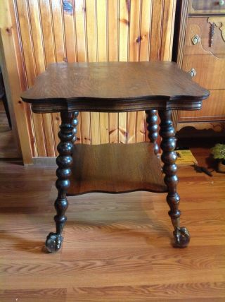 Vintage Quartersawn Oak Parlor Table With Large Glass Ball And Claw Feet