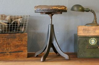 Antique Archer Mfg Co.  Cast Iron Stool Dental Barber Chair Leather Seat Rare Old