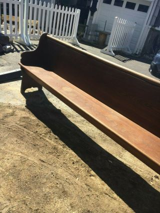 Antique Solid Oak Church Pew 8 Ft Long