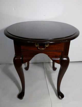 Vintage Round Oval Queen Anne End Table Mahogany Wood