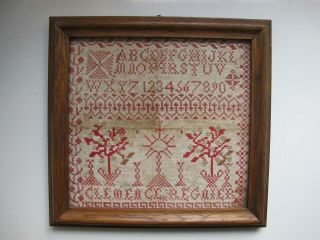 Antique French Alphabet Needlework Sampler By Clemence Regnier 1800