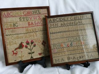 2 Small 19th Century Antique Samplers In Vintage Frames