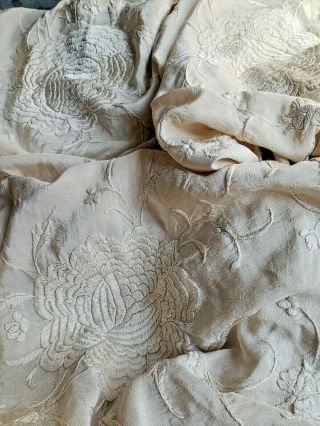 Antique Chinese Hand Embroidered Ivory On Ivory Silk Vintage Piano Shawl 50 X 50