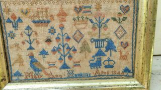 Small Needlework Sampler by Mary Hankins dated 1844 2
