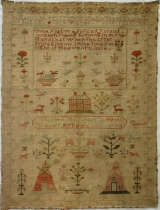 Early 19th Century Red House,  Windmills & Verse Sampler By Hannah Tippett - 1824