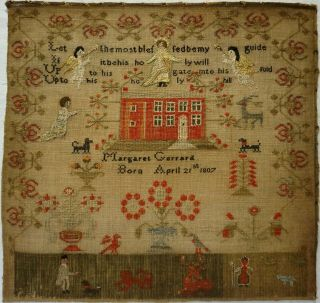 Early 19th Century Red House & Figures Sampler By Margaret Gerrard - C.  1820