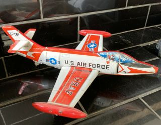 U.  S.  Air Force Fg - 761 Fighter Jet Aeroplane Vintage Tin 1960's Toy Made In Japan