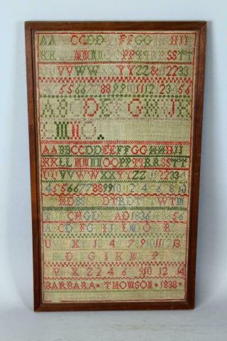 Rare Dated 1838 Pennsylvania Needlework Sampler By Barbara Thomson Great Colors