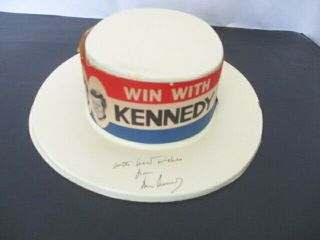 """John F Kennedy Signed 1960 Campaign Hat """" Win With Kennedy """" Inscribed"""