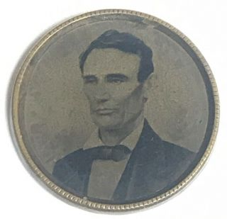 1860 Abraham Lincoln Ferrotype Tintype Campaign Pin Button Token