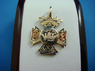 Antique Masonic 14k Yellow Gold Medal With Red,  White,  Blue And Black Enamel