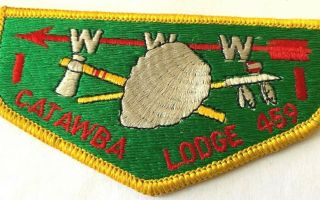 "Catawba Lodge 459 Bsa Boy Scouts Of America Badges Patch Www 4 3/4 "" X 2.  5 "" Rare"